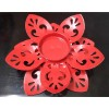 Metallic Lotus Shaped Tealight Lamp/Candle Holders for Diwali, Christmas Lights Decoration, Home Decor, Gifting, Parties V-6 (RED)